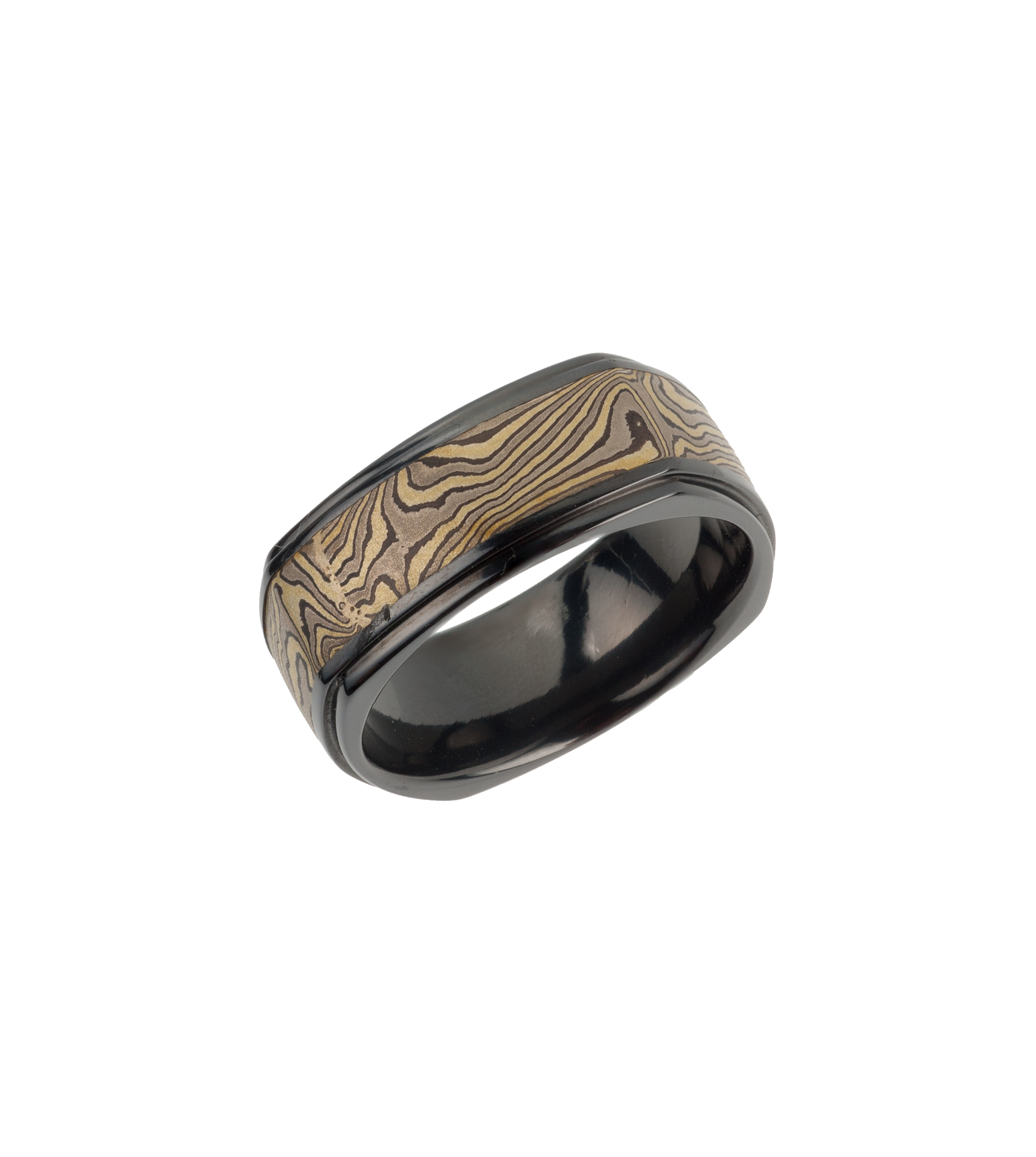 "Zirconium ""Woodgrain"" wedding band"