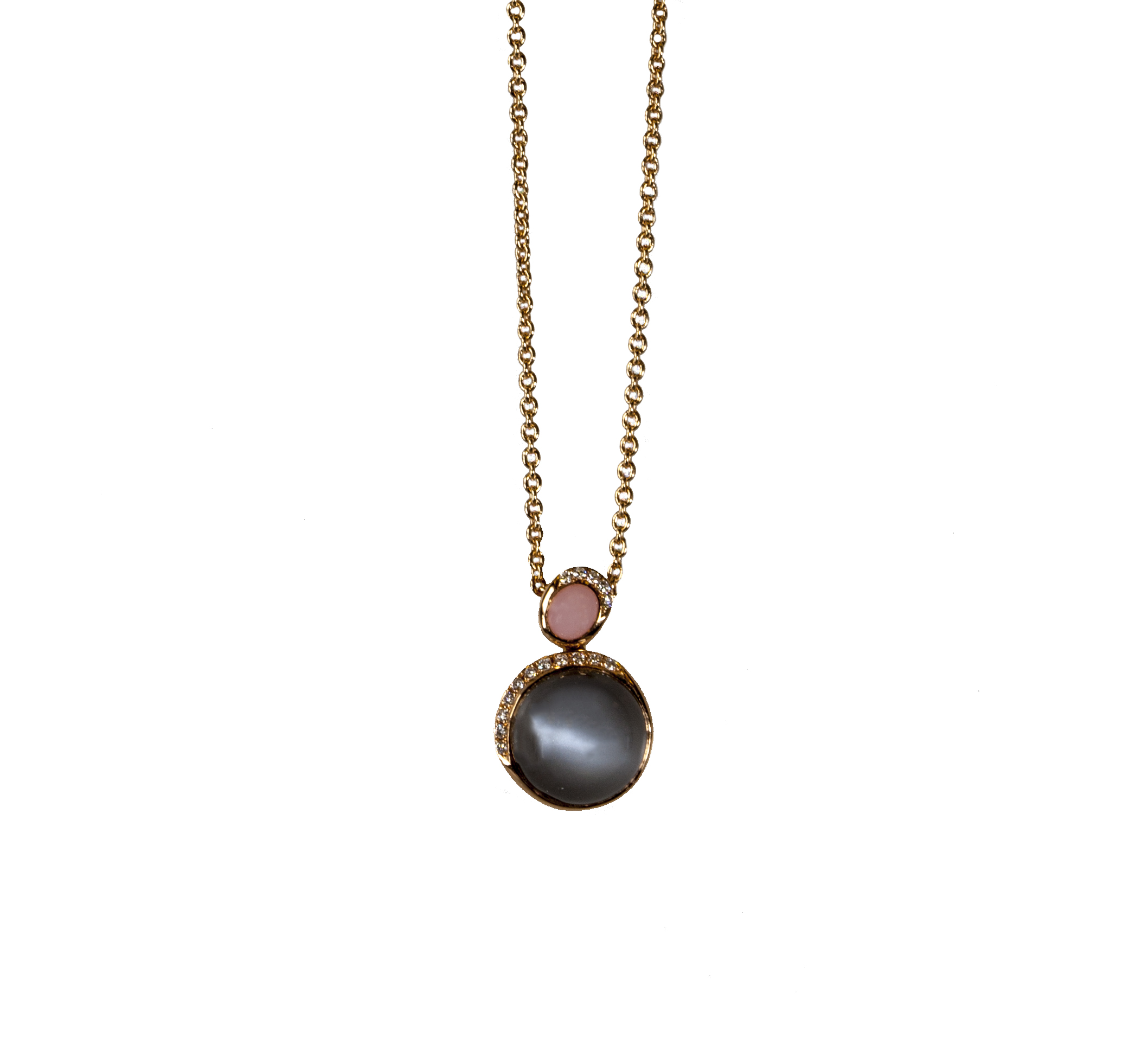Grey Moonstone, Pink Opal, and Diamond 18-Karat Rose Gold Pendant Necklace