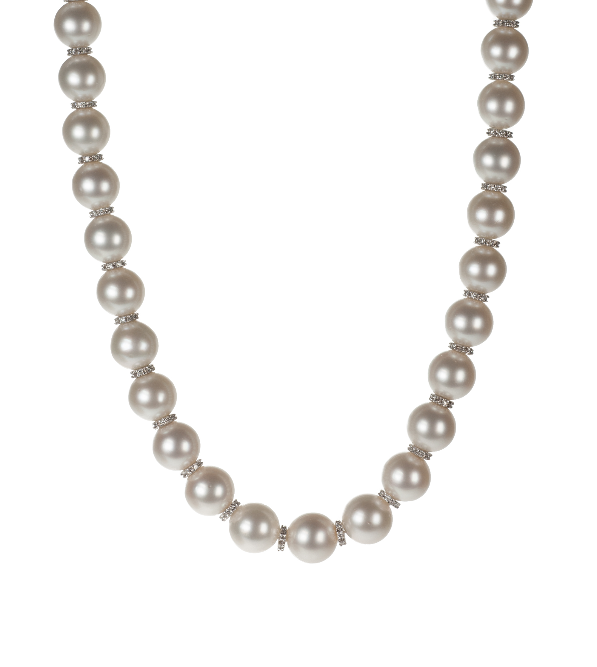 Single-strand South Sea cultured pearl and diamond necklace
