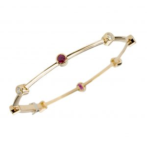 Dot-Dash Ruby And Diamond Bracelet