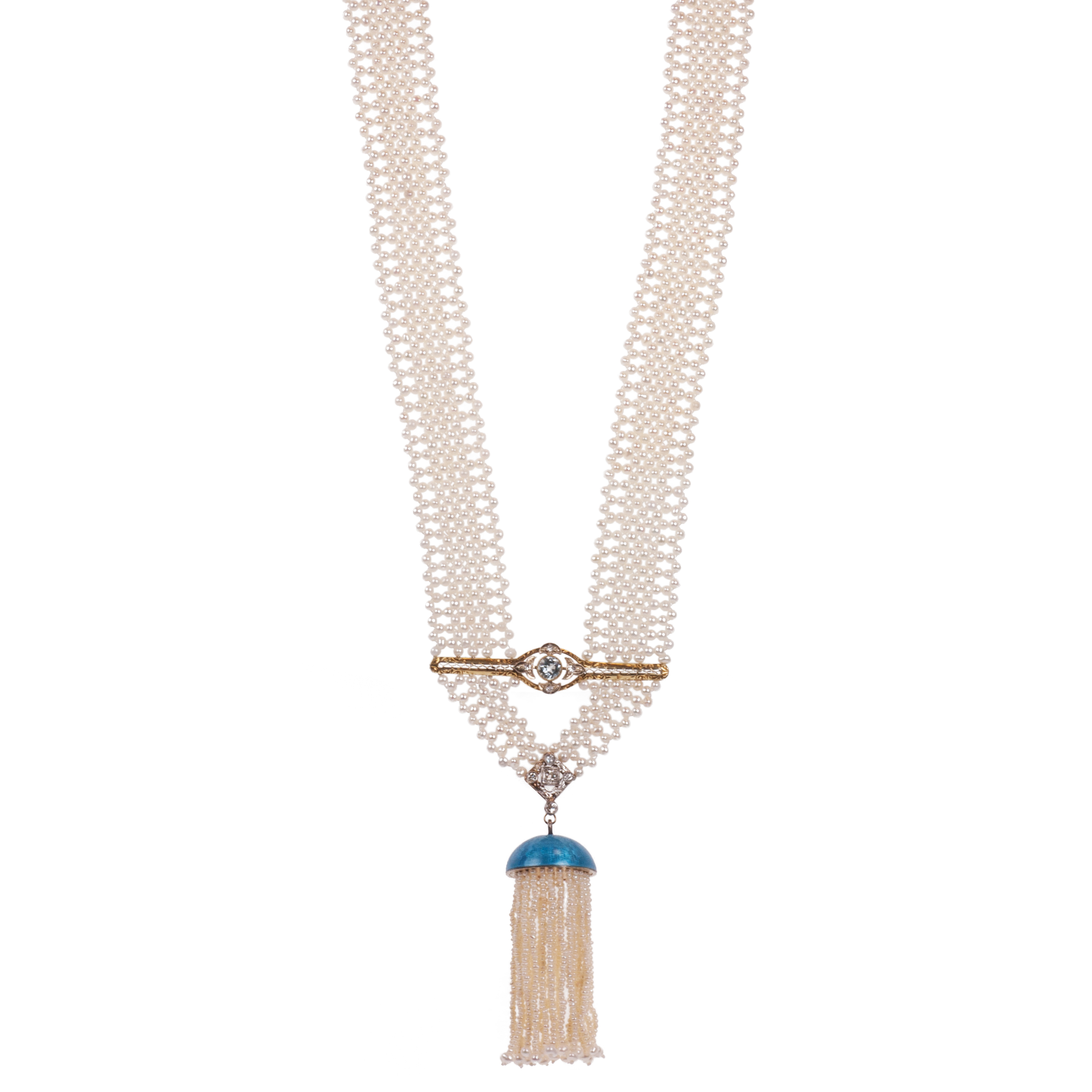 "Sautoir ""touch of blue"" tassel necklace"