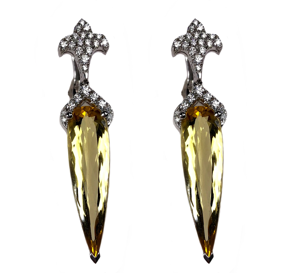 Yellow beryl heliodor earrings with diamond fleur-de-lis in 18-karat white gold