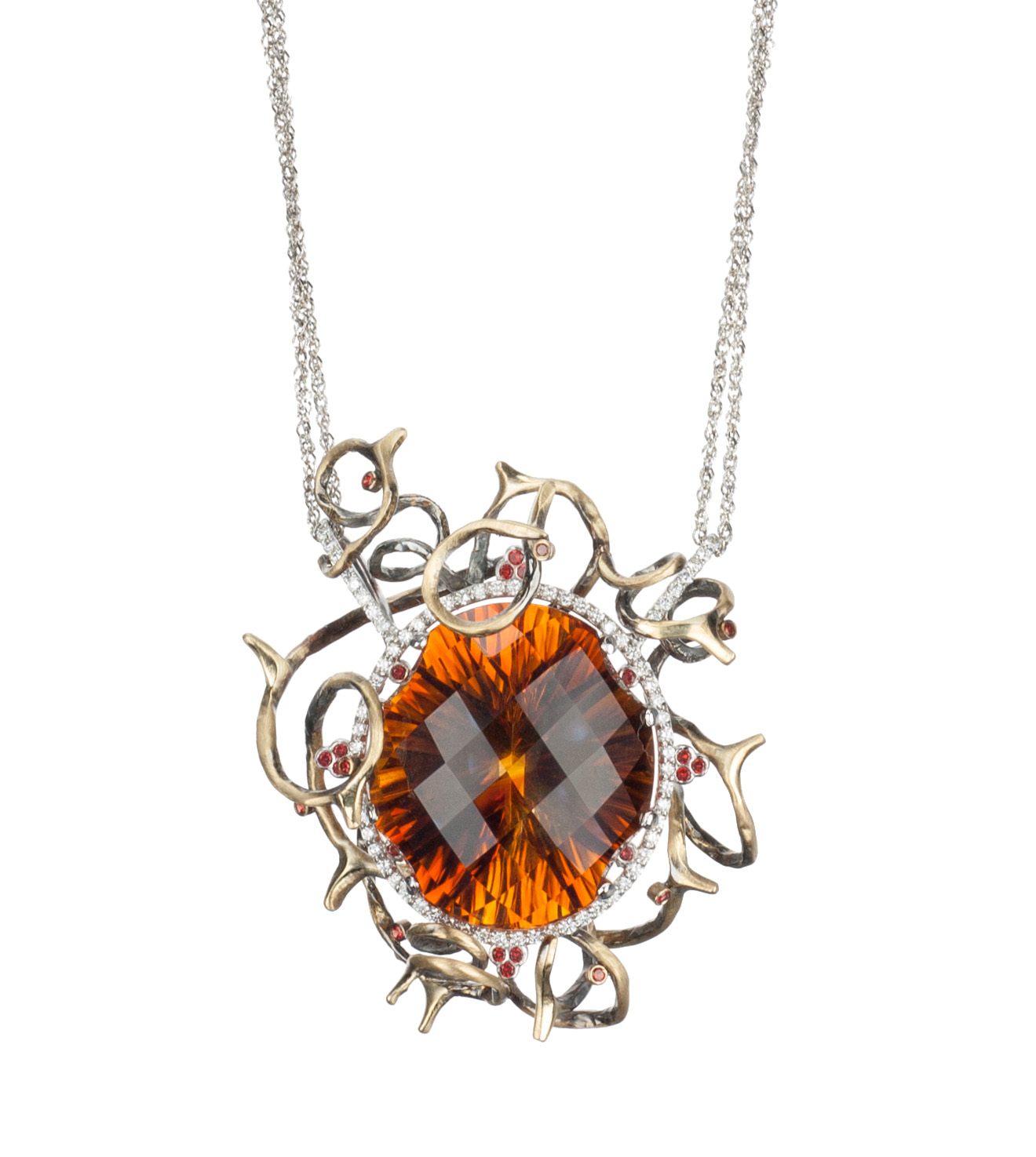 Thorny Orange Citrine Necklace