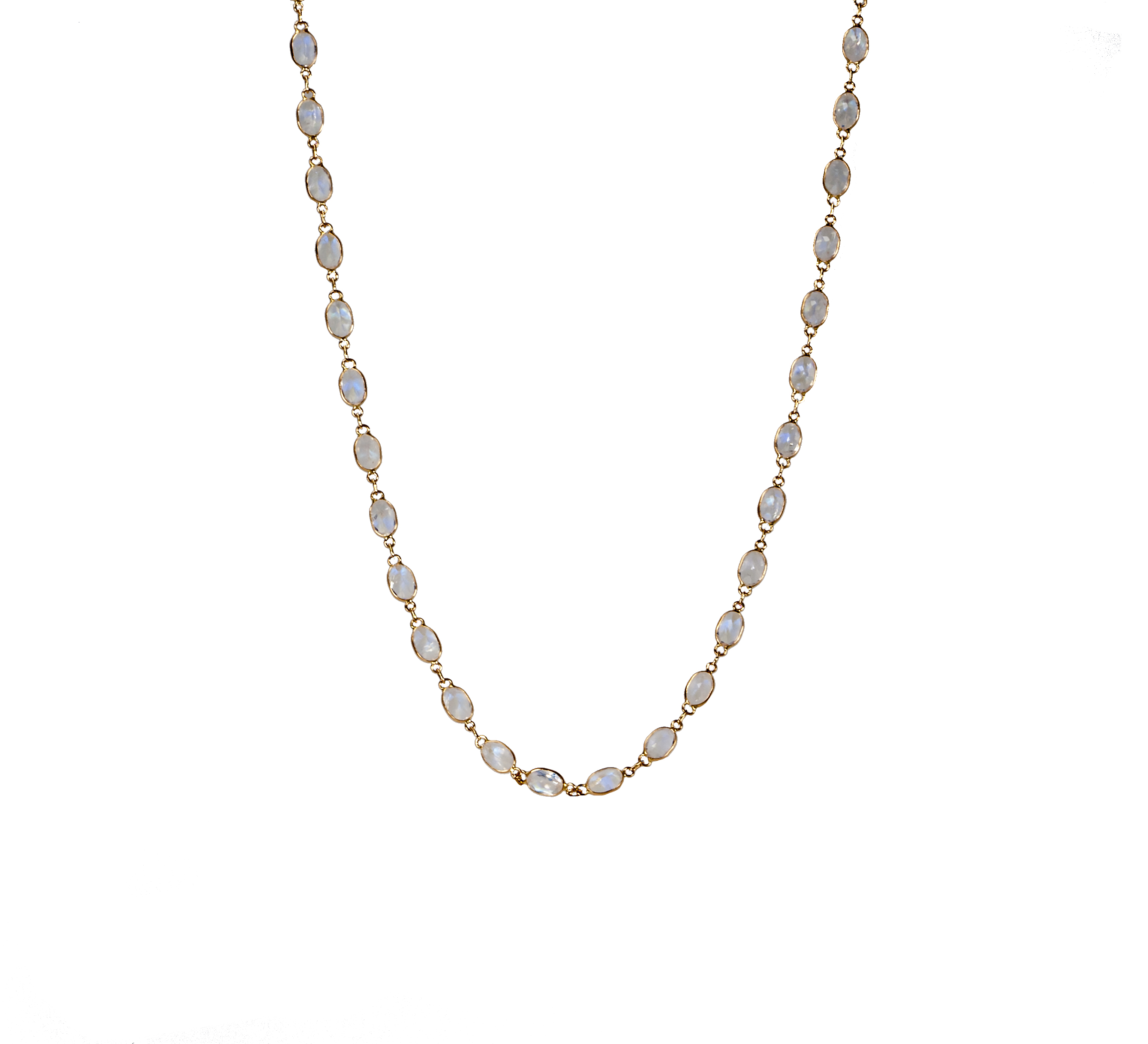 Rainbow moonstone link necklace in 18-karat rose gold