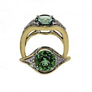Green Tourmaline Ring in 18KT Yellow and White Gold with Diamonds