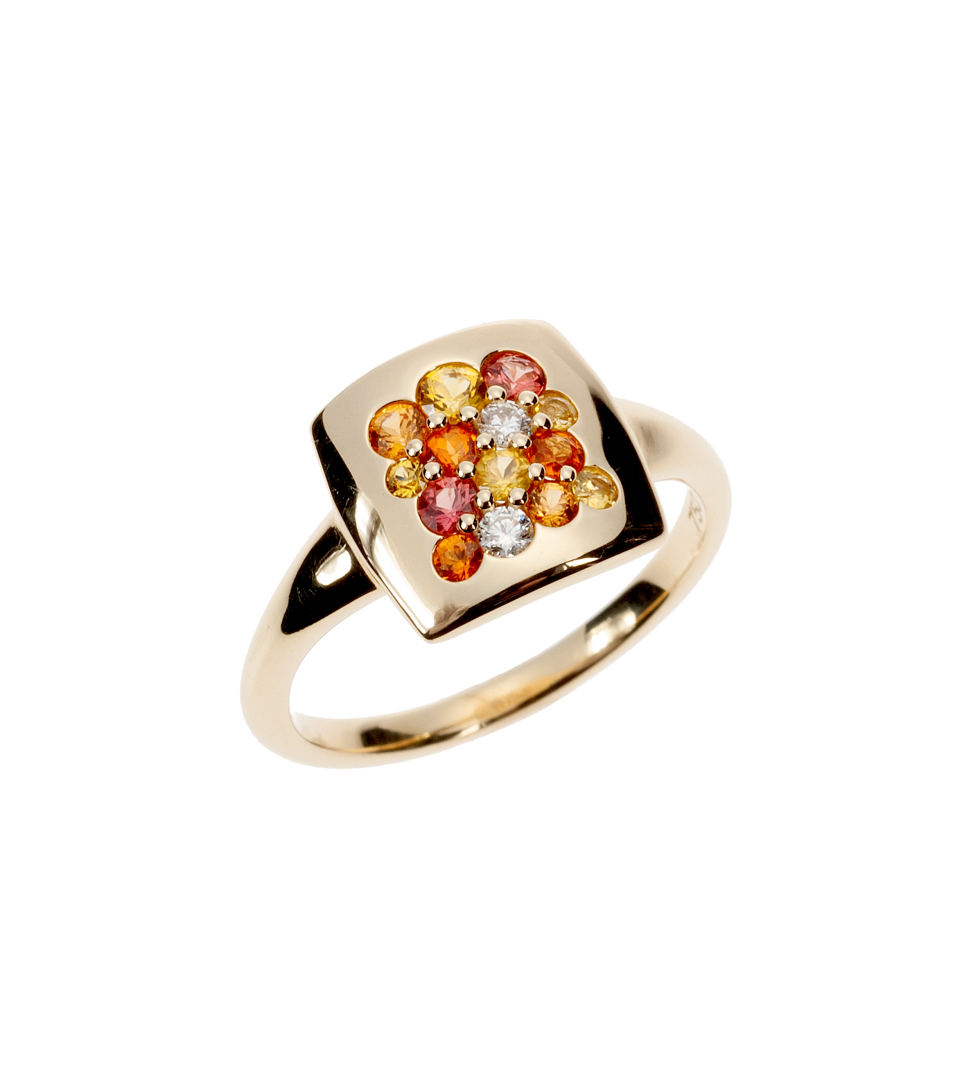 """Tango"" ring in orange gemstones"