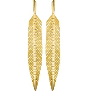 18K Yellow Gold Medium Feather Earrings