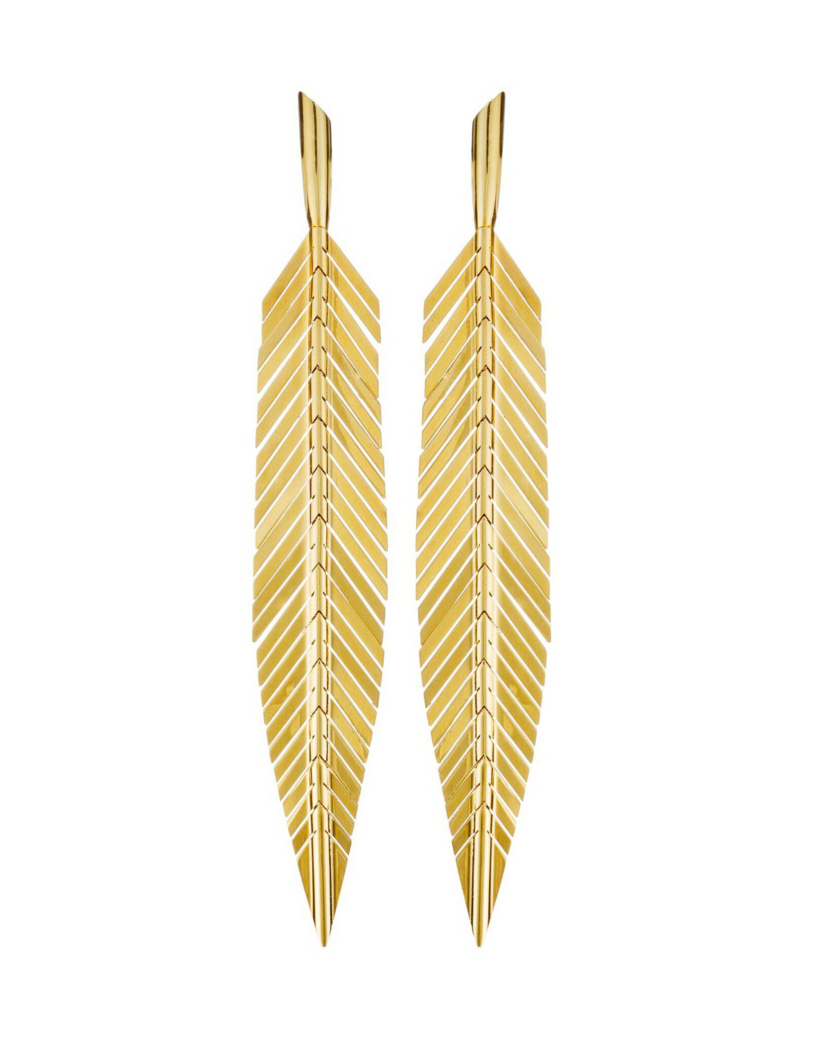 09838935fb422 18-karat yellow gold medium feather earrings