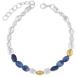 Sterling Silver And 24Kt Yellow Gold Kyanite Bead Bracelet