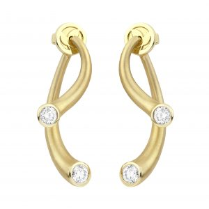 18Kt Yellow Gold 3-Way Diamond Earrings