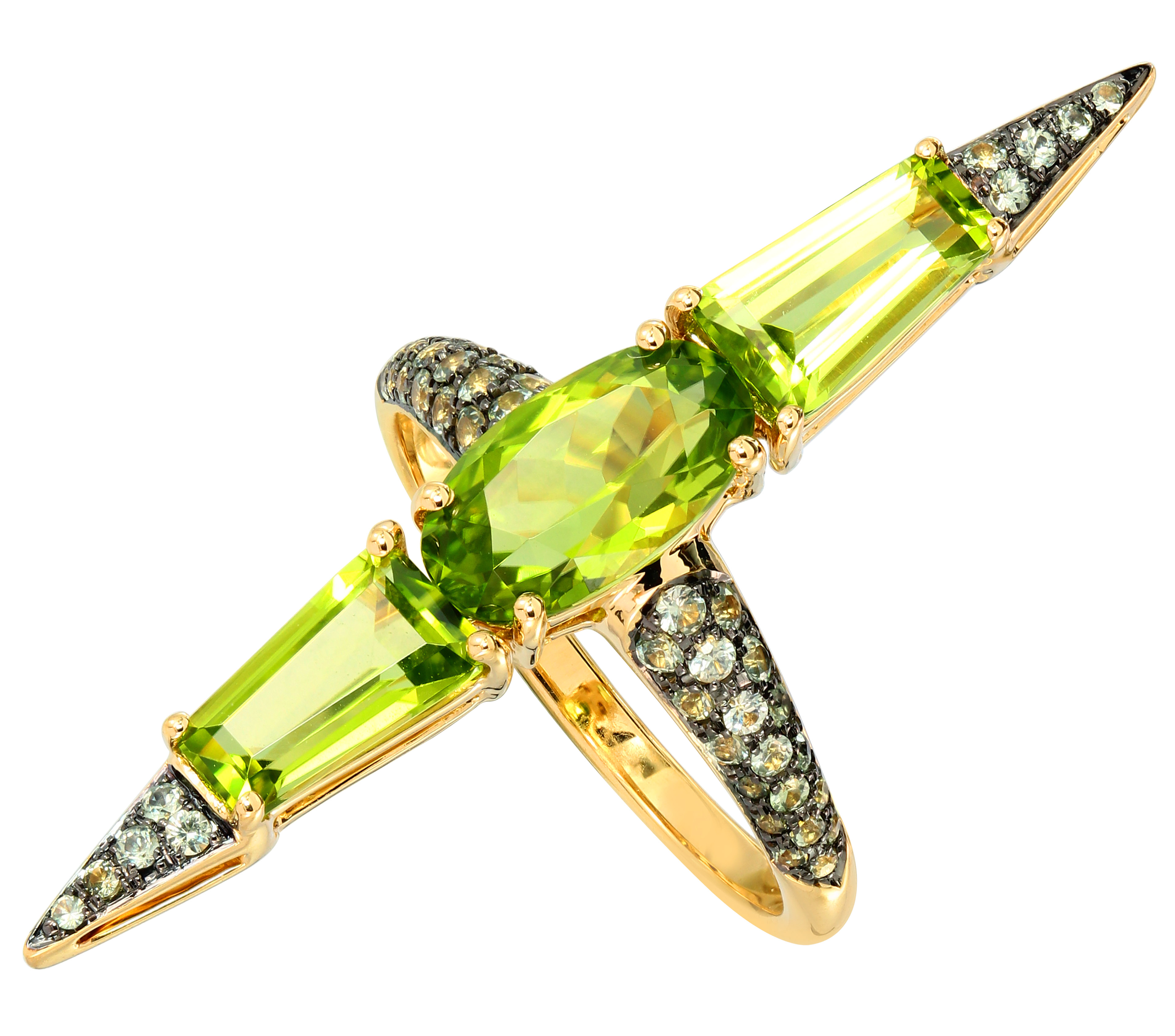 18-karat Yellow Gold Peridot and Green Sapphire Ring