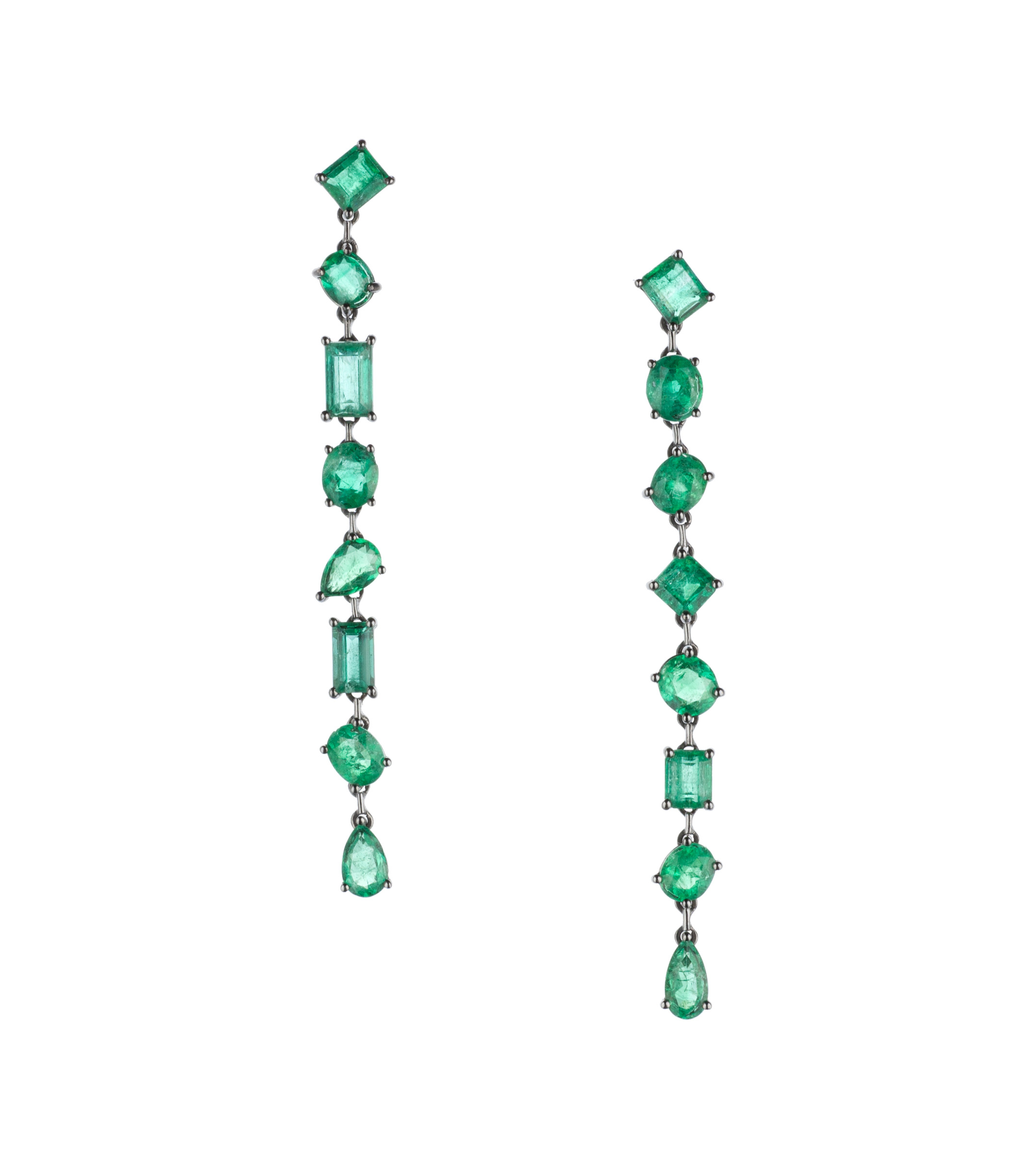 18KT Black Rose Gold Emerald Earrings