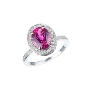 Platinum Pink Spinel Diamond Ring