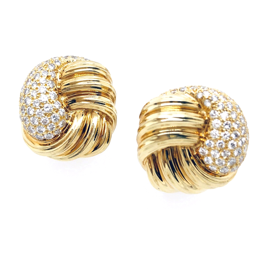 18K Yellow Gold Diamond Shiny Dunay Knot Style Earrings