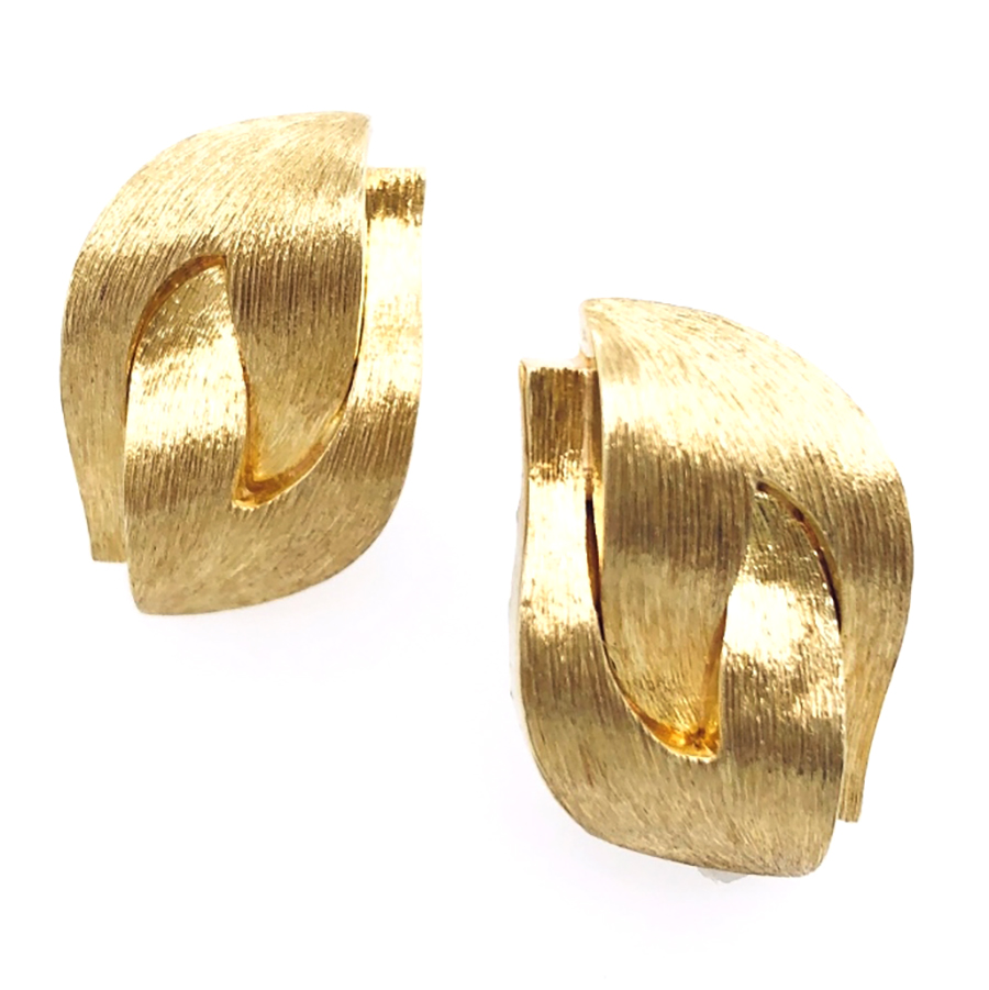 18K Yellow Gold Dunay Sabi Finish Earrings