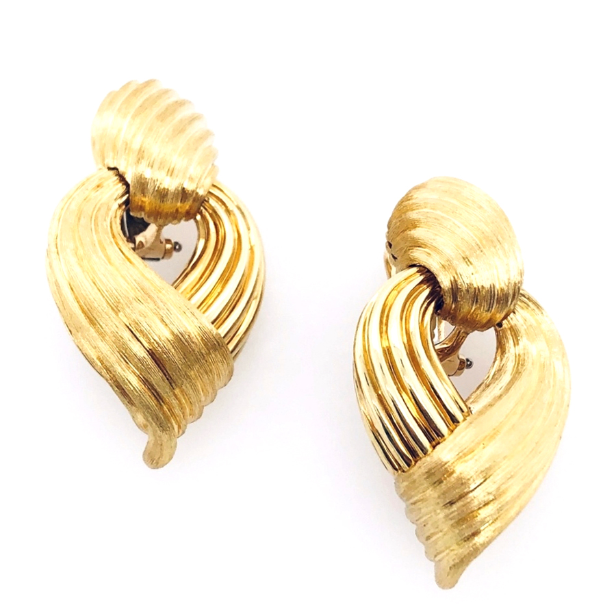 18K Yellow Gold Dunay Door Knocker Earrings