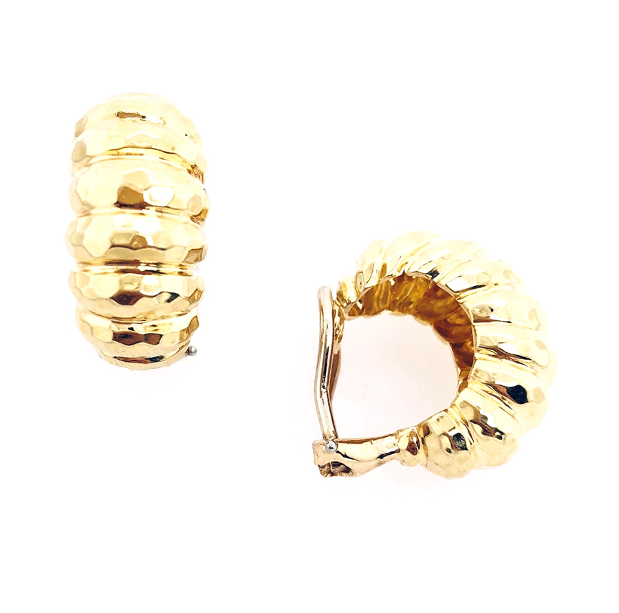 18K Yellow Gold Dunay Faceted Finish Earrings