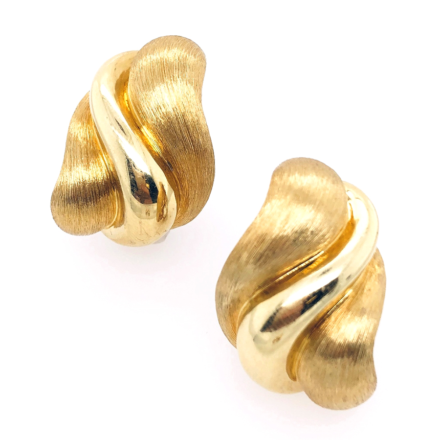 18K Yellow Gold Dunay Polished and Sabi Finish Earrings