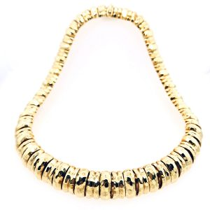 18K Yellow Gold Dunay Faceted Finish Necklace