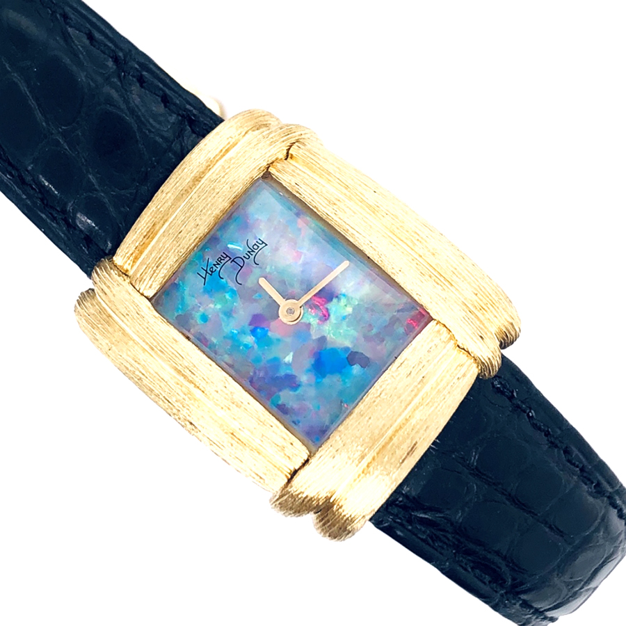 18K Yellow Gold Dunay Sabi Finish Watch with Opal Dial