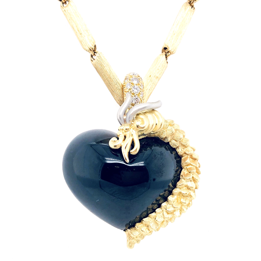18K Yellow Gold, Black Jade and Diamond Dunay Heart Pendant Necklace