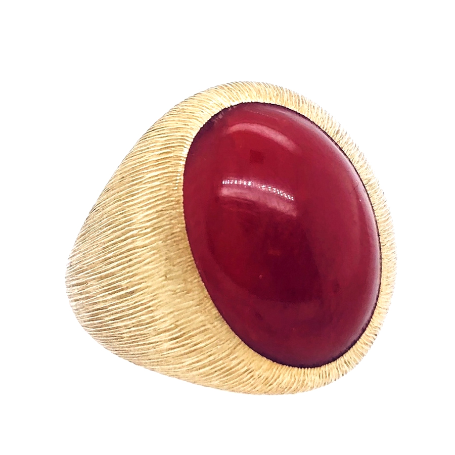 18K Yellow Gold Coral and Faceted Finish Ring