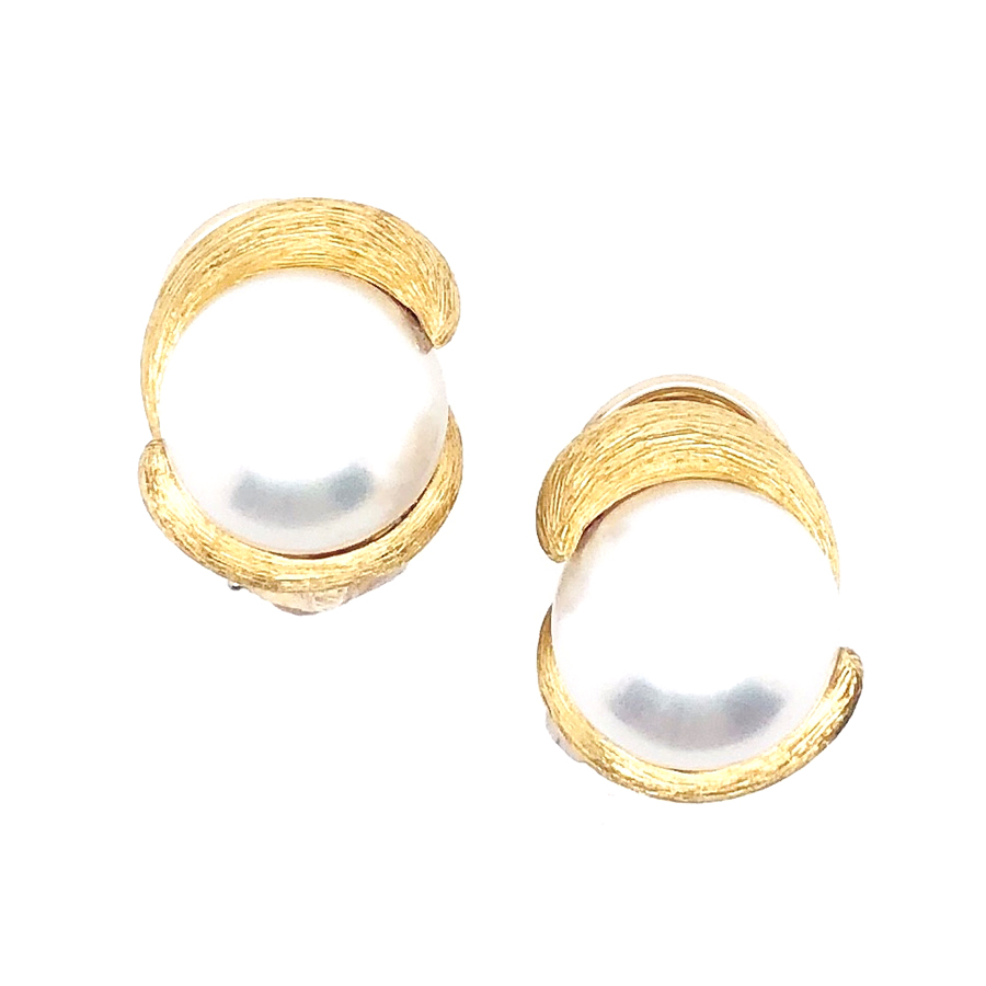 18K Yellow Gold Pearl and Sabi Finish Earrings