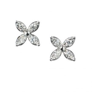 18K White Gold Diamond Starburst Earrings