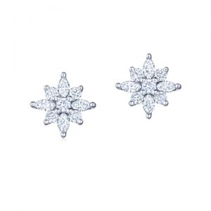 18Kt White Gold Diamond Mini Star Stud Earrings
