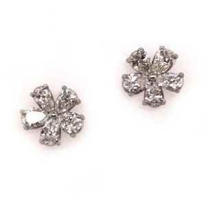 Platinum Diamond Flower Stud Earrings