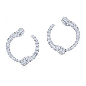 18K White Gold Diamond Eclipse Earrings