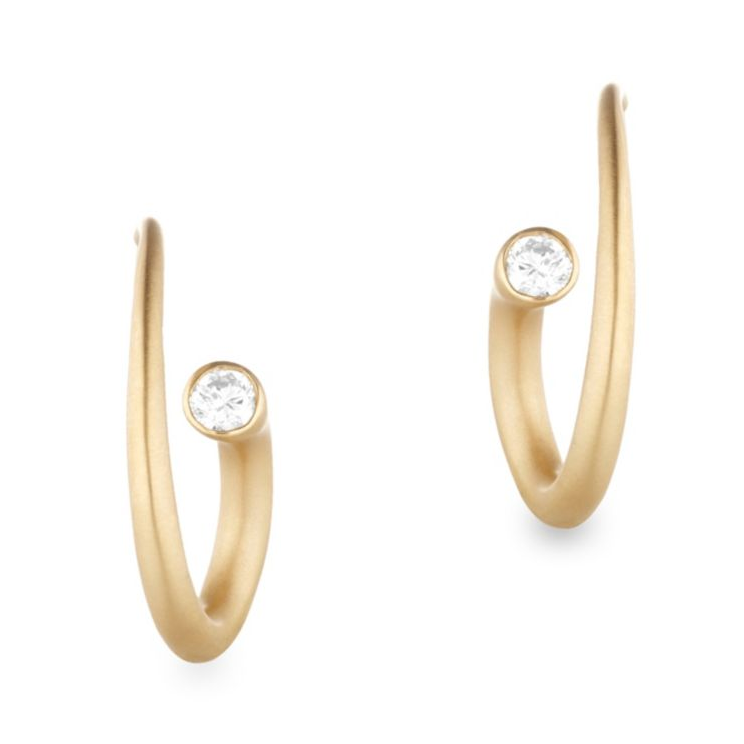 18K Yellow Gold Diamond Spiral Earrings