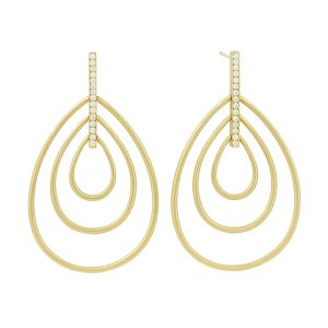 18Kt Yellow Gold Moderne Trio Drop Earrings