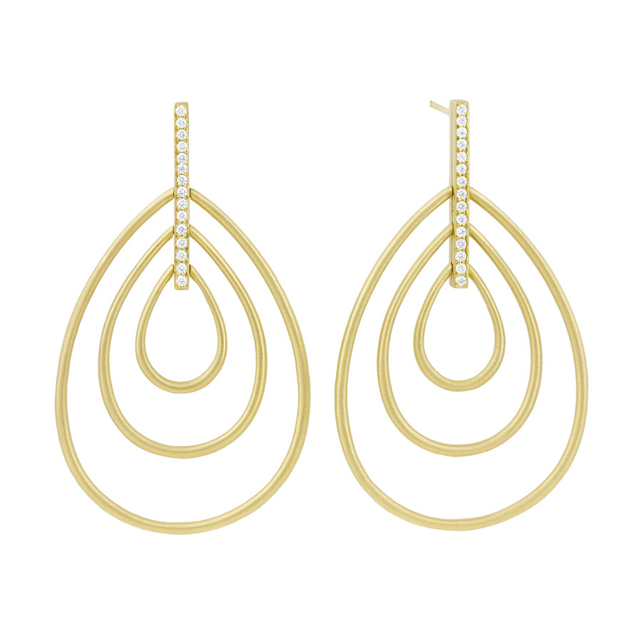 18K Yellow Gold Moderne Trio Drop Earrings