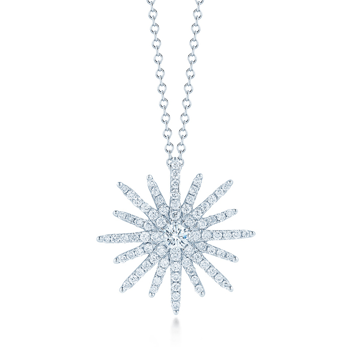 18K White Gold Diamond Starburst Necklace