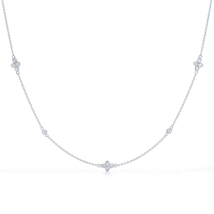 18K White Gold Diamond String Necklace