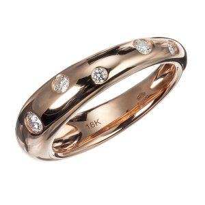 18Kt Rose Gold And Diamond Cobblestone Ring