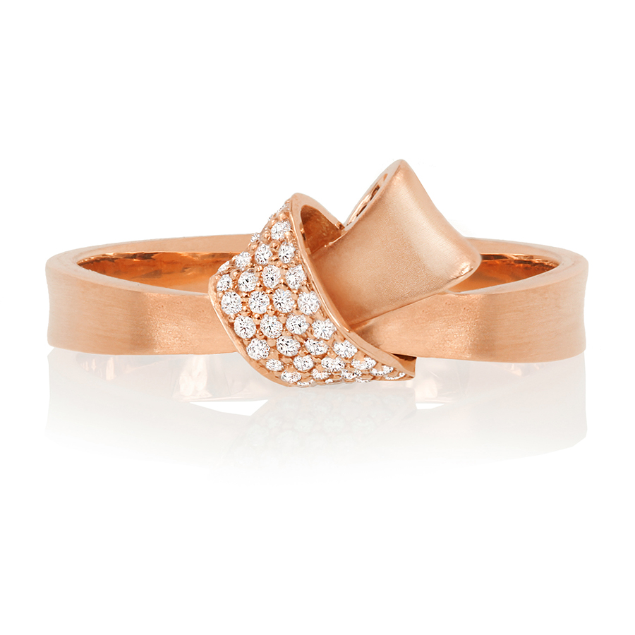 18K Rose Gold Mini Knot Pave Diamond Ring