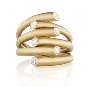 18K Yellow Gold Whirl Diamond Ring
