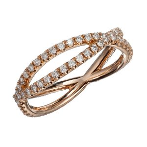 18K Rose Gold and Diamond Crisscrossed Bands