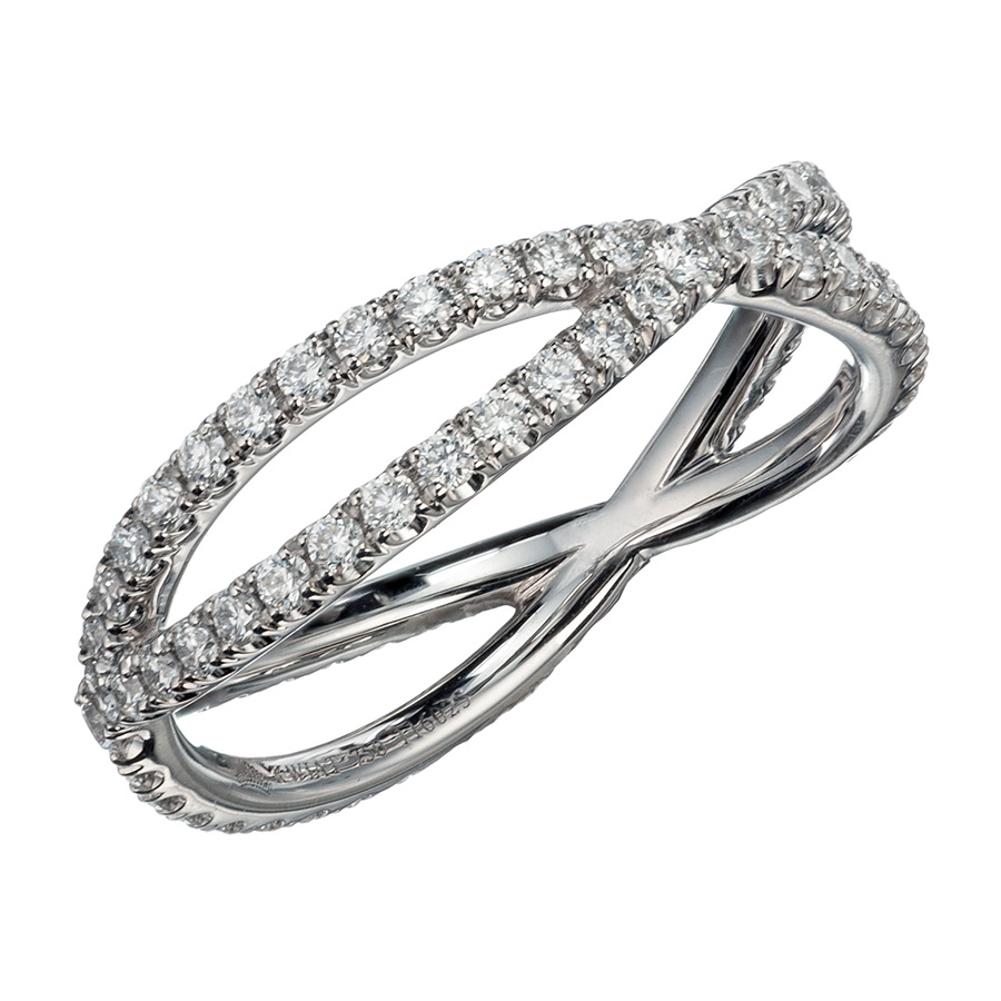 18K White Gold and Diamond Crisscrossed Bands