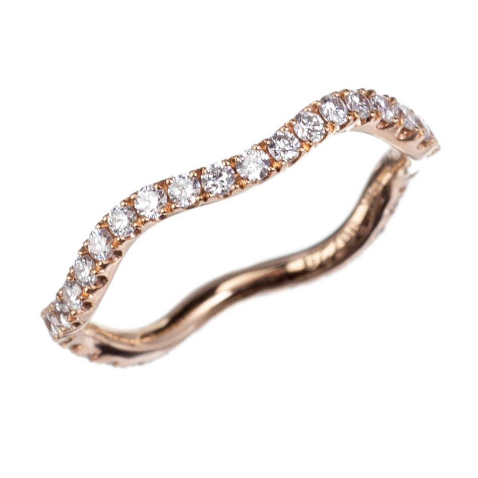 18K Rose Gold and Diamond Wave Ring