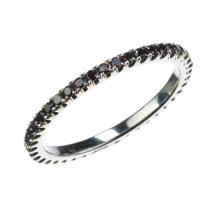 18K White Gold and Black Diamond Band