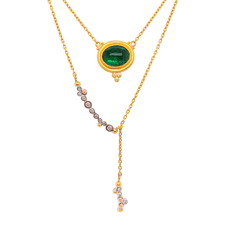 "24K Yellow Gold ""Sloane"" Emerald Pendant"