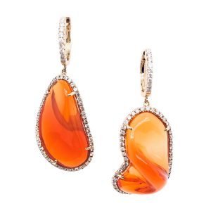 18K Yellow Gold Fire Opal and Diamond Earrings