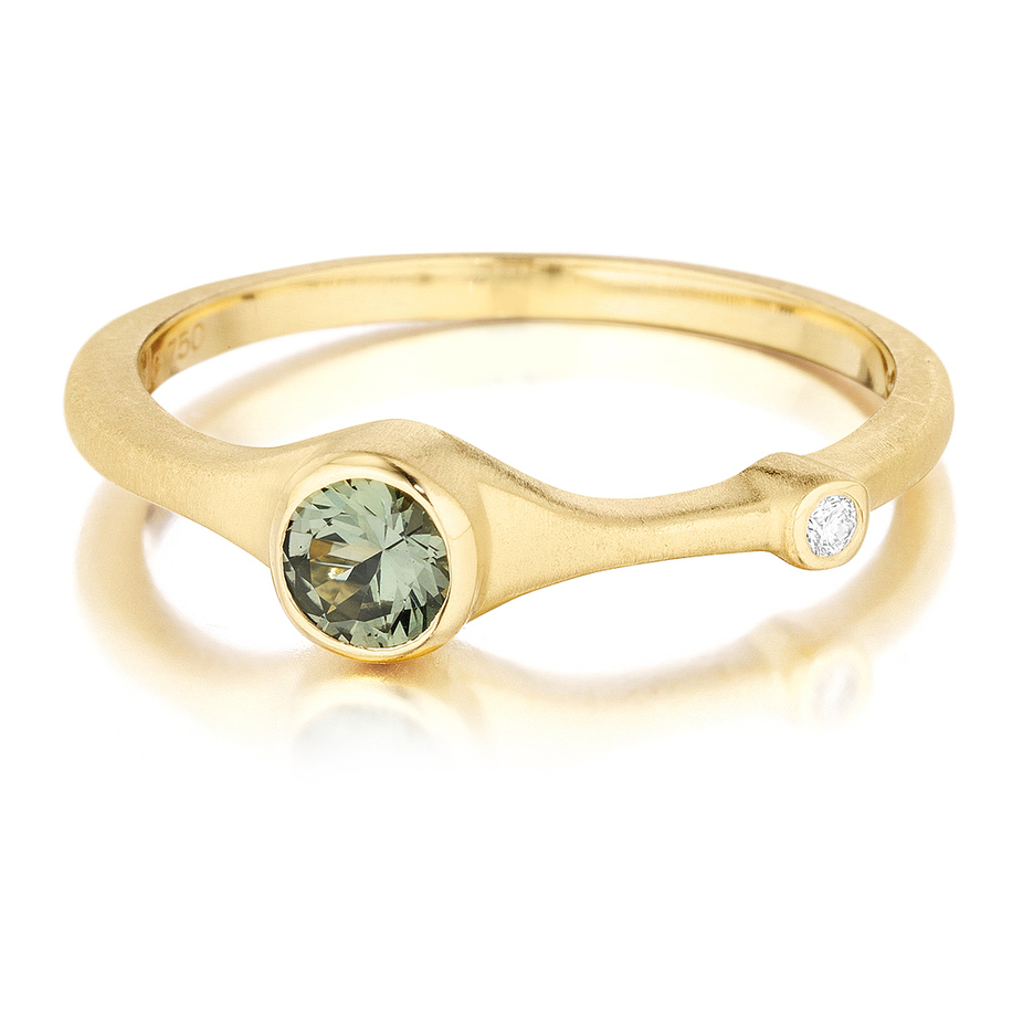 18K Yellow Gold, Green Sapphire and Diamond Ring