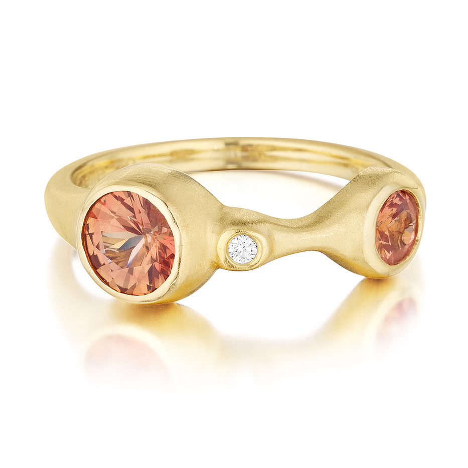 18K Yellow Gold, Orange Sapphire and Diamond Ring