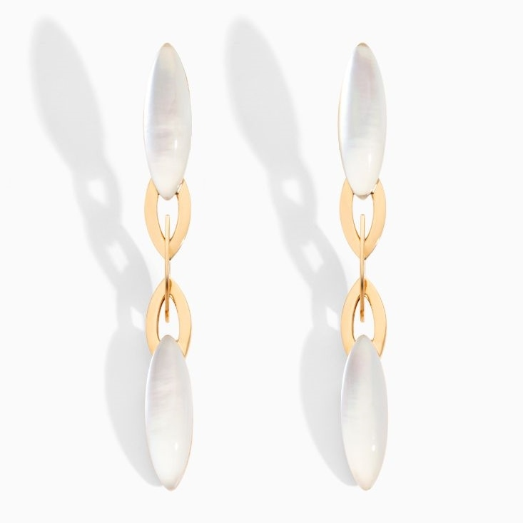 18K Rose Gold, Mother of Pearl and Rock Crystal Fuseau Earrings