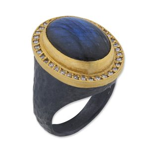 Pompei Labradorite and Diamond Ring