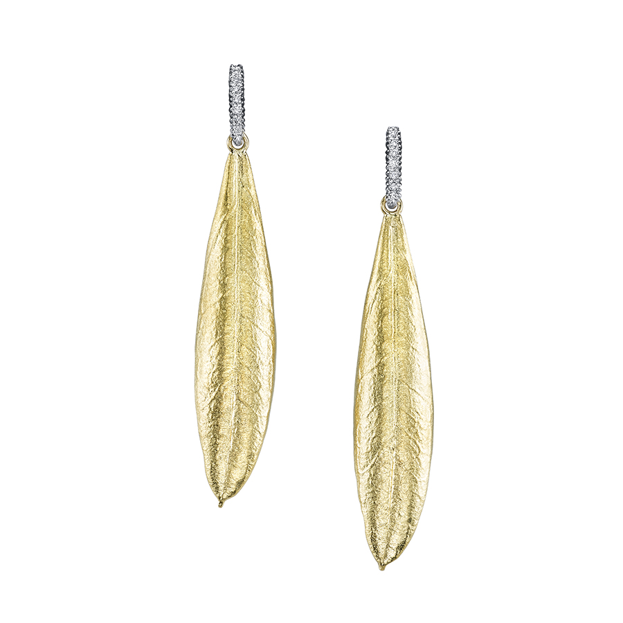 Yellow Gold and Diamond Olive Leaf Earrings